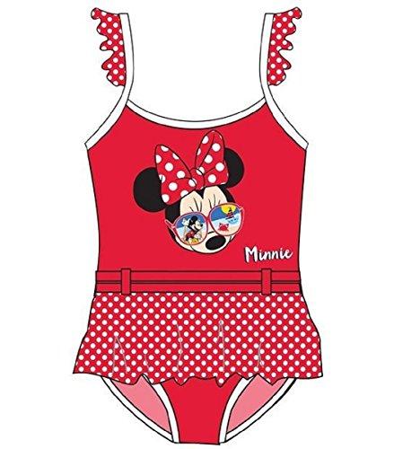 Minnie Disney Maillot de Bain Fille 1 pièce avec Jupette Rouge Taille 8 Ans