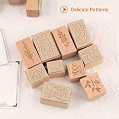 RisyPisy Wooden Rubber Stamp Set, 10pcs Decorative Mounted Rubber Stamps with Plant Flower Printed & 12 Sheets Border Style Card for Card Making, DIY Craft, Stationery Scrapbooking, Diary Decor #2