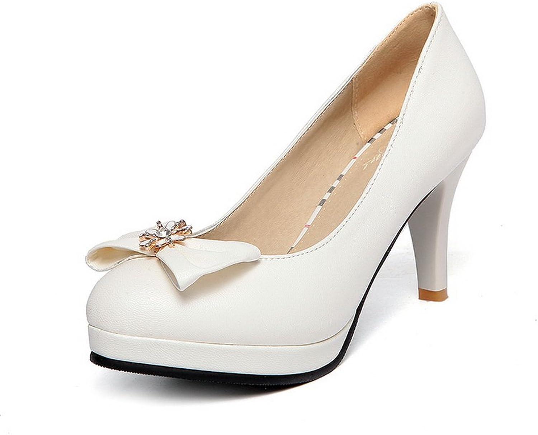 BalaMasa Womens Spun gold Bowknot Glass Diamond Platform Imitated Leather Pumps-shoes