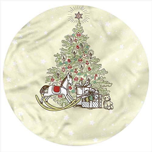 LCGGDB Christmas Flannel Throw Blanket,Tree with Rocking Horse Printed Soft Receiving Blanket Baby Shower Swaddle Blanket for Crib or Stroller, Round 31.5 Inches