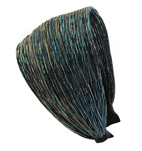 axy® HR31 Haarreif Serie 31 Stoff Hair Band mit Glitzerfäden (Peacock Blue)