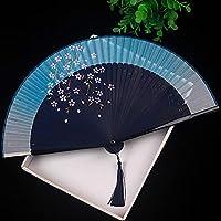 扇子ファン日本のさくら古代スタイルの折りたたみファンダンスファン折りたたみクラシックチャイナドレスシルクギフト-21ディスプレイスタンドなし