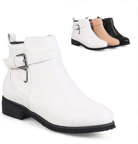 ZHRUI schuhe de damen - Moda Botines Gruesos para damen Stiefel de Cuero Cordones Martin Stiefel   36-43 (Farbe   Weiß, tamaño   37)