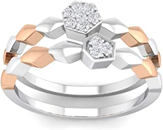 Perrian 18K White Gold 0.06 Carat (SI2 Clarity, GH Color) Round Diamond Ring for Women