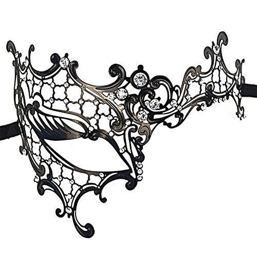 [Pas de produits de marque] authentique masque vénitien strass en métal noir déguisements Halloween Noël de luxe partie (diamant blanc)