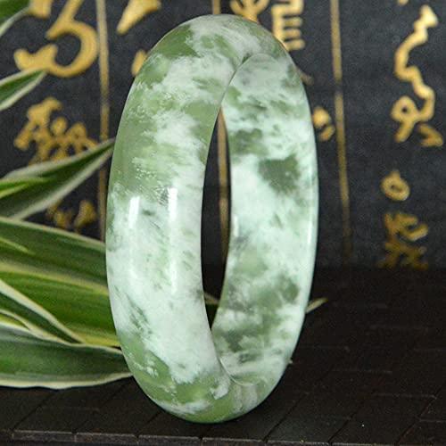 QVQV Pulsera de Jade auténtico Natural Pulsera de Jade Xiu de Flor Flotante con Fondo de Hielo clásico Una Pulsera de Jade de Jade de Jade Hetian con Caja de Regalo 56-62 mm