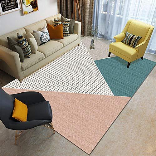 La alfombras Alfombra despacho Azul Blanco geométrico Alfombra Agua Lavado fácil Limpieza Sala de Estar hogar Decoracion Salon Adornos habitacion Juvenil 80*120cm