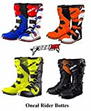 ONeal Rider Bottes Bottes Moto Adulte MX Motocross Enduro Quad Hors Route Course Armor Bottes de Sport - Blue/Red/White - 45