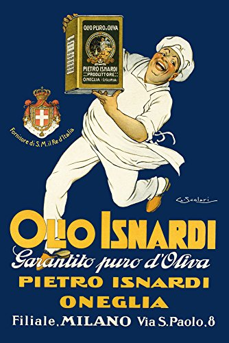 "Olive Oil Olio Isnardi Cook Chef Kitchen Milan Milano Italy Italia Italian Food Vintage Poster Repro 24"" X 36"" Image Size Shipped Rolled. We Have Other"