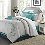 Chic Home 8-Piece Floral Embroidered Comforter Set, Queen, Gray and Blue