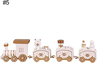 helegeSONG Merry Christmas Train Toy Ornament, Painted Wood Train Santa Bear Xmas Toy Gift for Kids, Home Desktop Decoration 5#