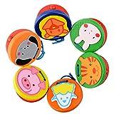 Warooma - 6 castañuelas de dedo de madera coloridas con patrón de dibujos animados hechas a mano para instrumentos musicales y ritmo, juguete de educación temprana para bebés y niños