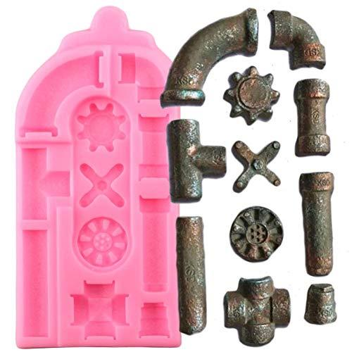 SHEANAON Tubos oxidados Moldes de Silicona Molde de Fondant Herramientas de decoración de Pasteles Molde de Chocolate para Hornear DIY