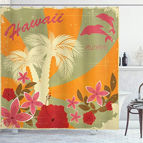 Ambesonne Hawaiian Shower Curtain, Aloha Vintage Print Colorful Swirl Backdrop Dolphins Palm Trees Flowers, Cloth Fabric Bathroom Decor Set with Hooks, 70