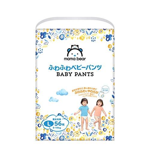 【パンツ Lサイズ】Mama Bear (ママベアー) ふわふわベビーパンツ  (9~14kg) 56枚  [Amazonブランド]
