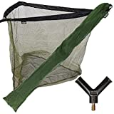 DNA NEW NGT 36' Green Carp Coarse Fishing Landing Net with Strong Metal Spreader Block and Stink Storage Bag