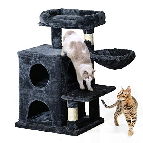 MQ MultiLevel Cat Tree Cat Activity Centre 31#039#039 Cat Tower Furniture with SisalCovered Scratching Posts Padded Plush Perches Dual Condo Basket 2 Replacement Fur Balls for Small Large Adult Cats