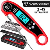 Digital Instant Read Thermometer Waterproof, PEYOU Meat Thermometer with Alarm Setting and Backlight