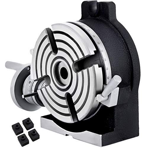 VEVOR Mesa Giratoria Circular Vertical y Horizontal, Diámetro de Sección 150 mm, Juego de Placas Divisorias para Altura de Mesa Giratoria, Dispositivo Divisor para Trabajos de Corte Circular
