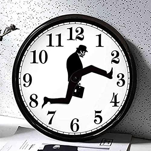 AHURGND Inspired Satly Walk Wall Clock, caminando hombre Relojes de pared silenciosos, reloj de pared Comedia británica inspirada, caminando en silencio Reloj silencioso, reloj de pared novedoso Diver