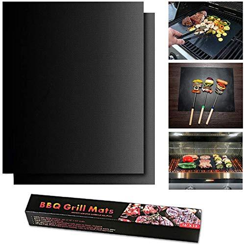 PUBAMALL BBQ Alfombrilla para grill, 2 Piezas Láminas Antiadherentes láminas Resistentes al calor para horno, grill, parrilla y barbacoa
