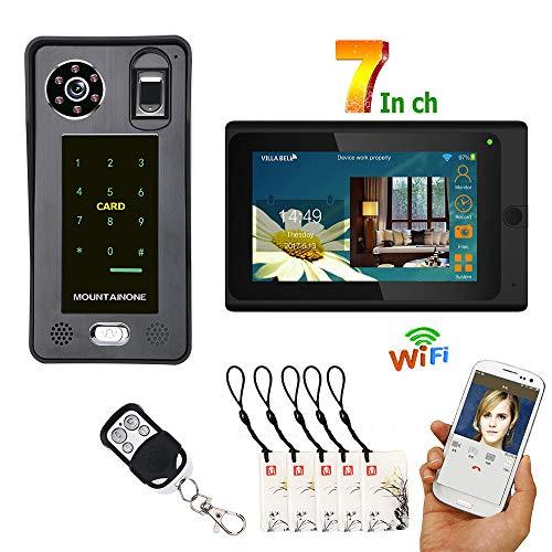 Wifi Türklingel Video, intelligentes wlan Video-Türsprechanlagen-Intercom-Zugangssystem, Fingerabdruck-IC-Karten-Passwortsperre, APP-Fernbedienung, 7-Zoll-Monitor + IR-CUT-Kamera-Nachtsicht