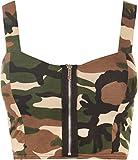 WearAll - Bustier sans Manches avec imprimé Camouflage et Une Fermeture éclair sur l'avant - Hauts - Femmes - Vert - 36-38