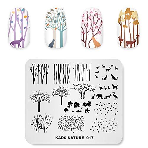 KADS Nail Stamping Plate Charming Herbst Landschaft Baum Defoliation Natur Vorlage Bild Design Platten für Nail Art Dekoration und DIY Nail art (NA017)