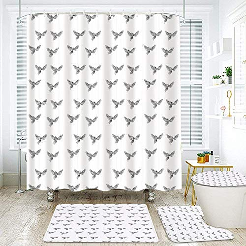 MEJAZING Shower Curtain Sets with Non-Slip Rugs,Toilet Lid Cover and Bath Mat,Hand Drawn Asian Chinese Phoenix Tattoo Style Simplistic Magic Bird Print Waterproof Bath Curtains Hooks Included