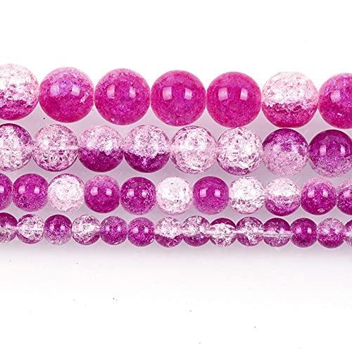 Piedra natural fucsia rojo blanco agrietado cristal encanto redondo cuentas sueltas para hacer joyas costura DIY pulsera Strand 8 mm H7139 12mm aproximadamente 30pcs