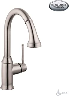 hansgrohe Talis C Premium 1-Handle 15-inch Tall Stainless Steel Kitchen Faucet with Pull Down Sprayer Magnetic Docking Spray Head in Steel Optic, 04215800