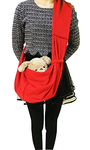 Tiger Mama Reversible Pet Sling Carrier for Pets Up to 12+ lbs (Red) 5
