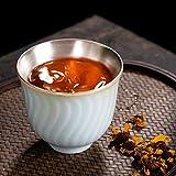 YTO Set de té Kung Fu, Taza con Estampado de Agua, Taza de cerámica, Taza de degustación, Taza Maestra, Taza única, Set de té