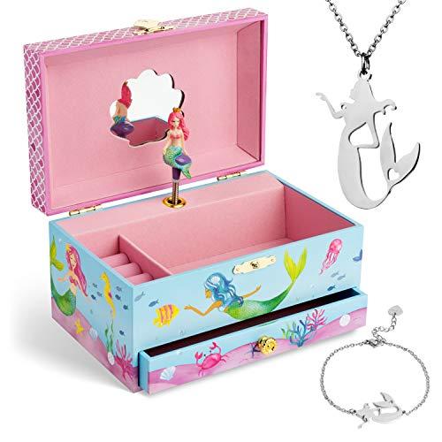 Jewelkeeper - Caja Musical Sirena y Juego de Joyas de niñitas - 3 Regalos de Sirena para niñas