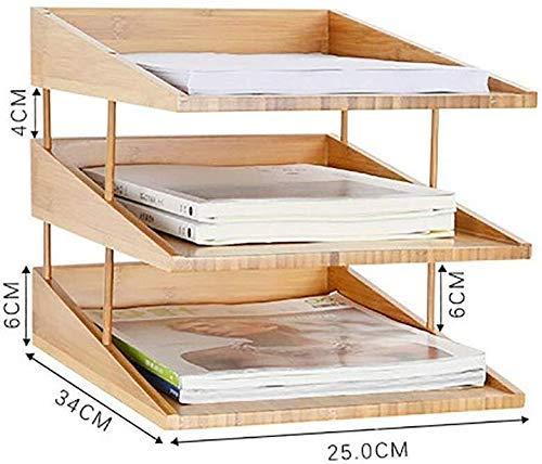 XKOEY File Cabinets Assembledstorage Box Office Stationery Storage Desktop Folder Data Shelf Bamboo Wood Quality Lacquer Treatment Natural Bamboo