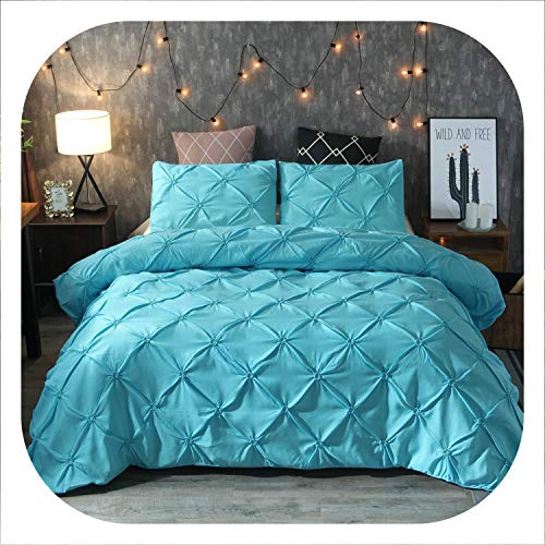Memoirs- Luxury Pinch Pleat Bedding Comforter Bedding Sets Bed Linen Duvet Cover Set Bedding Queen King Size Bedclothes Bed Set,Blue,150x200cm