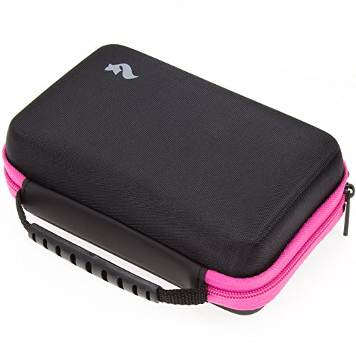 BRENDO Carrying Case for New Nintendo 2DS XL and 3DS XL with Large Stylus, Fits Wall Charger, 24 Game Cartridge Case Holder - PINK/BLACK