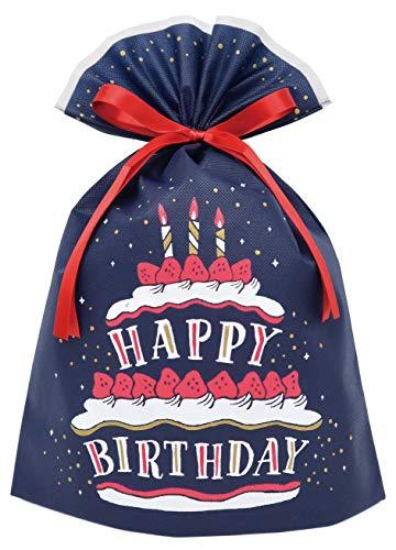 インディゴ ラッピング袋 バースデーバッグL ケーキ ネイビー PG363