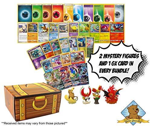 Pokemon 200 Card Mystery Lot Bundle - 100 Energy - 90 Common/Uncommon - 7 Foils - 2 Rares - 1 GX Ultra Rares - 2 Random Mystery Surprise Pokemon Collectible Figures! Includes Golden Groundhog Treasure