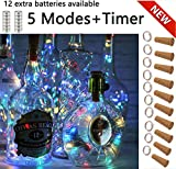 SFUN Wine Bottle Lights with Cork- 5 Dimmable Modes with Timer 10 Pack-12 Replacement Battery Operated LED Silver Copper Wire Fairy String Lights for DIY, Party, Decor, Christmas, Halloween,Wedding