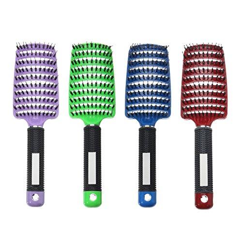 EgBert Haar-Kopfhaut-Massage Kamm Bristle Nylon Curly Haarbürste Anti-Statische Geschwungene Reihe Friseurwerkzeuge - Grün