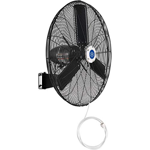 Global Industrial 292457 0.3HP 8400 CFM Outdoor Misting Oscillating Wall Mounted Fan44; Black - 30 in. Dia.
