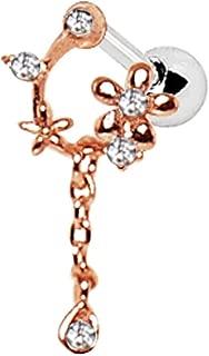 Amelia Fashion 16 Gauge Rose Gold Plated Flower Vine Dangle Tragus/Cartilage Barbell Stud 316L Surgical Steel