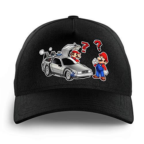 Casquette Enfant Noire parodie Mario - Retour vers le futur - Mario 3D, Mario Pixel et la Delorean - De retour Vers le Futur...(Casquette de qualité supérieure - Taille unique ajustable - imprimé e