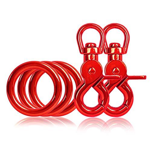 Ganzoo - Set di 3 anelli a O in acciaio e 2 moschettoni a forbice, con giunto girevole/testa girevole, per guinzaglio/collare per cani fai da te, antiruggine, ideale con Paracord 550, colore: rosso