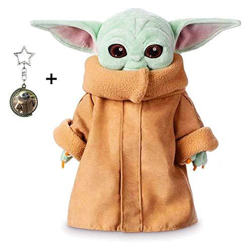 Baby Yoda Toy Plush The Child Figura de acción de Peluche de Mandalorian Muñeca Linda Regalo de cumpleaños para niños Día de los niños Novio 11.6 Pulgadas con Llavero