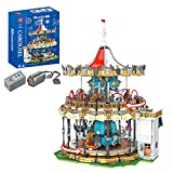 WWEI Carrusel, juguete de construcción de ingeniería, carrusel giratorio de 2 capas, con motor de iluminación LED, 5086 MOC, bloques de sujeción, compatible con Lego 10257