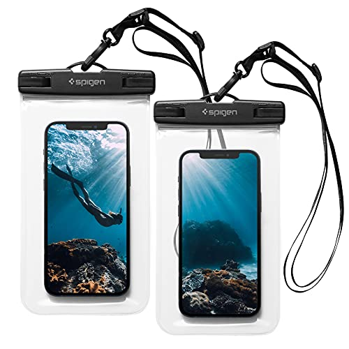 Spigen A601 Funda Impermeable móvil con IPX8, 2 Unidades Bolsa estanca Universal Compatible con iPhone 12 Pro MAX 11 XS SE, Poco X3 Pro NFC F3 y Xiaomi Redmi Note 10 Pro 9 8 - Transparente