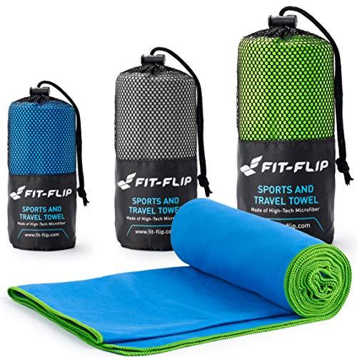 Fit-Flip Toalla Microfibra – en Todos los tamaños / 18 Colores – Ultraligera y compacta – Toalla Secado rapido – Toalla Playa Microfibra y Toalla Deporte Gimnasio (80x160cm Azul - Borde Verde)