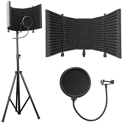 """AxcessAbles SF-101KIT Recording Studio Microphone Isolation Shield with Tripod Stand - 4ft to 6ft 6"""" Height Adjustable Stand Compatible w/Blue Yeti, AT2020, AKG, Rode Microphones. Extra Large"""
